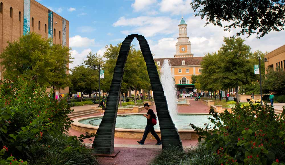 UNT Library Mall with fountain